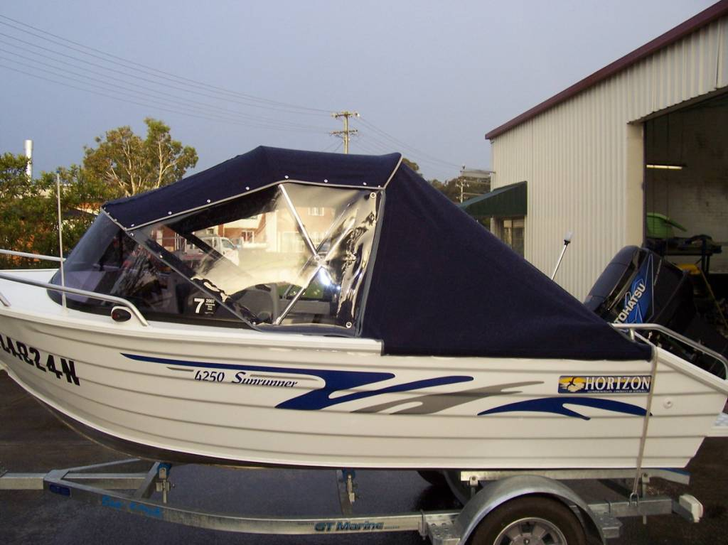 Canopy with side curtains and storm covers & Products - Examples of Boat Canopies - Undercover Canvas
